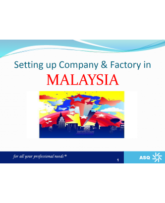Setting up Company & Factory in Malaysia